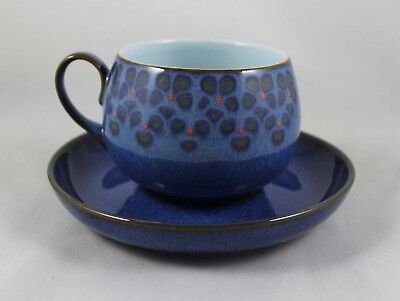 Denby MIDNIGHT Tea Cup & Saucer ~ Handcrafted in England Blue & Black Stoneware