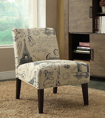 Wooden & Fabric Accent Chair , Multicolor.