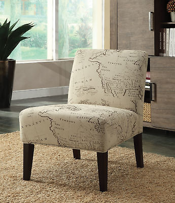 Wooden & Fabric Accent Chair , Multicolor