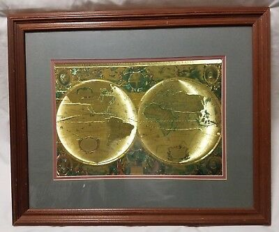 VTG Framed Nova Totivs Terrarvm Orbis Geographica Tabvla Gold Foiled World Map