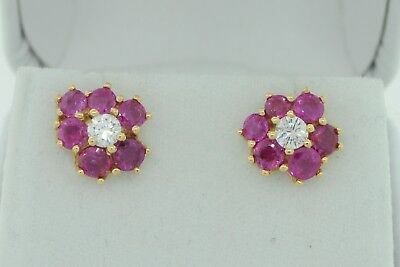 Art Nouveaux Style 14K Yellow Gold Pink Sapphire and Diamond Cluster Earrings