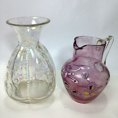 Antique Small Glass VASE and JUG