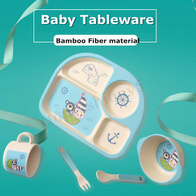 5 Set Bamboo Fiber Baby Plate Bowl Cup Forks Spoon Kids Food Feeding