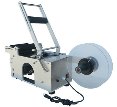 110V Commercial Stainless Steel Round Bottle Labeling Machine for Package Seal