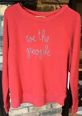 NWT Lingua Franca We The People Red Blue Sweatshirt Sz S/M Embroidered SOLD OUT