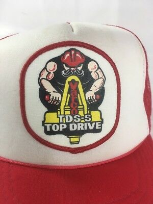 Vintage Varco TDS-S Top Drive Trucker SnapBack Mesh Hat Red and White Cap b0062690c34a