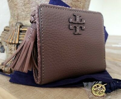 181353b2b7d TORY BURCH TAYLOR Mini Wallet Silver Maple Leather Nwt + Pouch ...