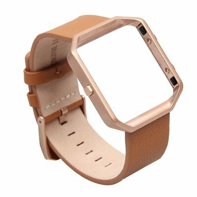 For Fitbit Blaze Band Leather Bracelet Camel Strap and Rose Gold Metal Frame