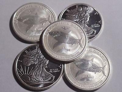 Lot of 5 coins  (2014) 1/2 oz American Eagle  Silver Coins  .999 Silver #1