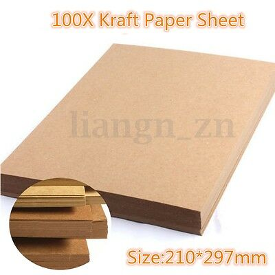 100 Sheet A4 Kraft Paper Brown Blank Sheets Recycled Card DIY Wedding Crafts 1