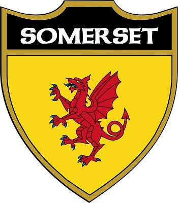 Somerset Old Flag Shield Exterior Vinyl Decal Car Caravan Camper Sticker x 2