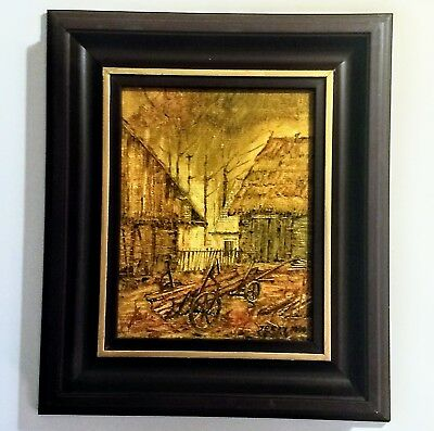 "Original Framed Signed Fine Art Poland Country Landscape Oil Painting 12""x10"""