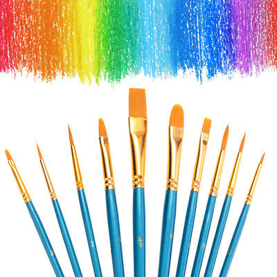New 10 Pc Artists Paint Brush Set Fine Hobbies Crafts Model Making Brushes Kit