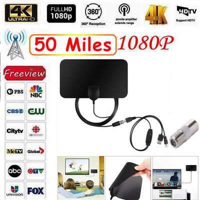 [50 Miles] Clear Indoor Digital TV HDTV Antenna [2019 Latest] UHF/VHF/1080p 4K