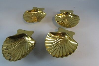 Estate Tiffany & Co. 925 Sterling Silver Gold Scallop Shell Nut Dishes Set Of 4