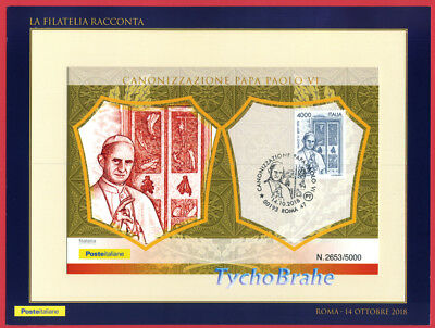POSTKARTE FDC HEILIGSPRECHUNG PAPST PAUL VI 2018 ITALIEN First Day Cover 14/10