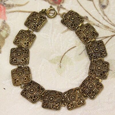 Vintage Bracelet Art Deco Brass Filigree Egyptian Revival Jewellery Jewelry 30s