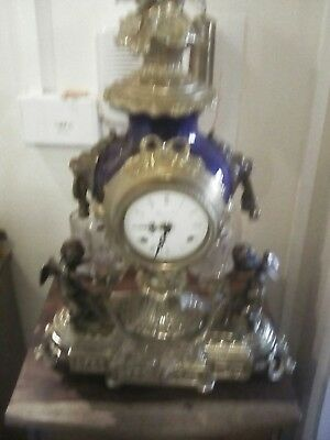 A Large Imperial Mantel Brass Clock