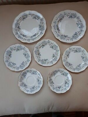 Royal Albert Silver Maple China Plates X 5 And 2 Saucers. 1St Quality