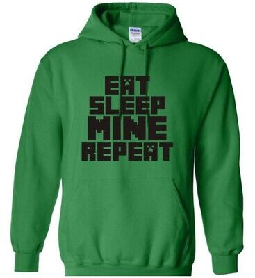KIDS Eat Sleep Mine Repeat T Shirt Gamer Geek Ages 3-4 to 12-14