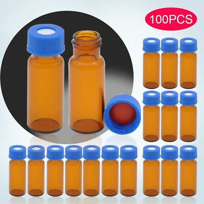 100pcs Sample vials + caps 2ml Amber 9-425 Glass Vial Screw Top No Write-on Spot