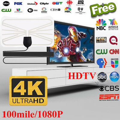 [100 Miles] Clear Indoor Digital TV HDTV Antenna [2019 Latest] UHF/VHF/1080p 4K