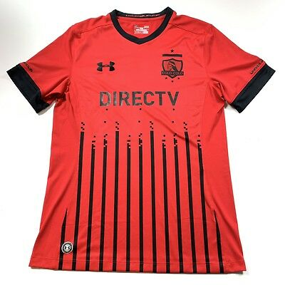 Under Armour Mens Colo Colo Direct TV Chile FC Jersey Black Red Size Large eb1446227