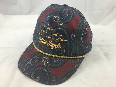 VINTAGE 80s BLUE ANGELS SNAPBACK TRUCKER GOLD CAP HAT LEATHER ADJUST PAISLEY c61753122370