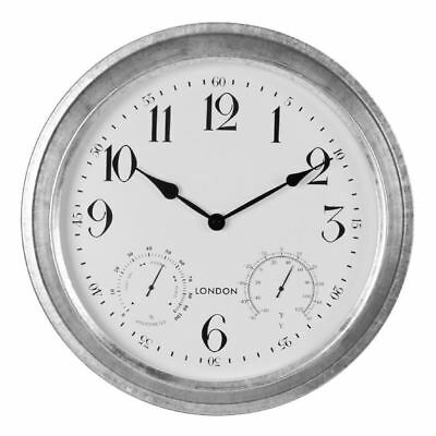 Hometime Galvanised Metal Outdoor Wall Clock with Temperature & Humidity Dials