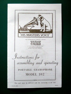 Instructions for Assembling and Operating HMV Gramophone Model 102.