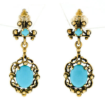 Antique Victorian 14k Yellow Gold Natural Robin's Egg Turquoise Dangle Earrings