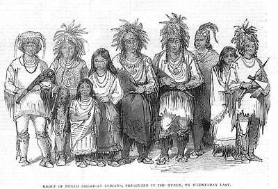 Group of North American Indians Presented to Queen Victoria - Antique Print 1843