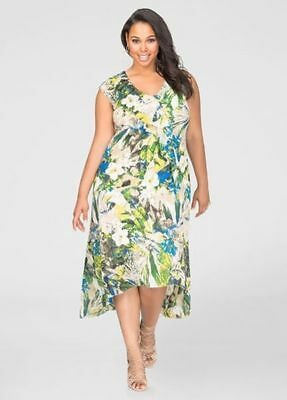 b7a26247b84 NEW SOLD OUT Ashley Stewart Printed Hi-Lo Flounce Maxi Dress 14 ...