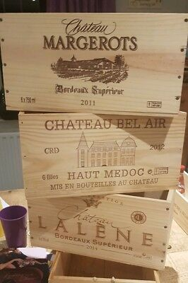6 pack GENUINE FRENCH WOODEN WINE CRATES BOXES>>>>>>>>>>