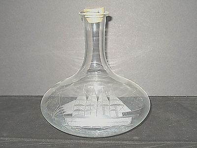 Clear glass Decanter Bottle with Etched Sailing Ship, Wood Stopper