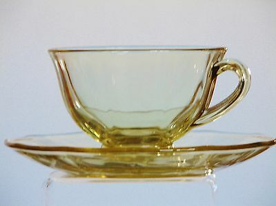 Fostoria Glass FAIRFAX Topaz/Golden Yellow Cups and Saucers - Sets Available