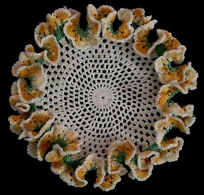 Vintage Crocheted Doily Pansy Ruffle Edge Yellow Variegated Round Cottage Decor