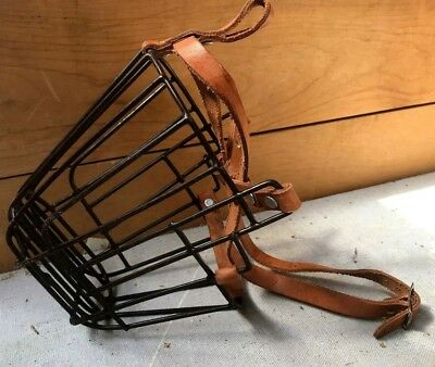 Vintage old school lex luther wire cage dog muzzle with leather straps