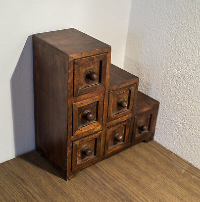 Asian Step Chest Tansu Medicine Cabinet Vintage Antique Handmade Rustic