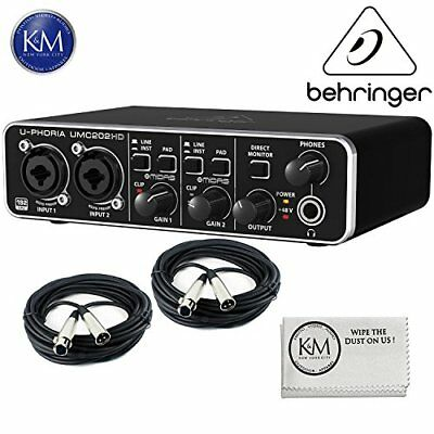 Behringer U-PHORIA UMC202HD - USB 2.0 Audio Interface BUNDLE with Cables & Cloth
