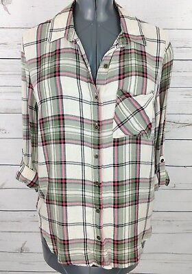 e4180b97ccc58 FADED GLORY WOMENS Plaid Shirt Size S CH (4-6) Button Up Long Sleeve ...