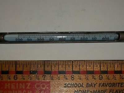 Antique INDUSTRIAL Metal DIP THERMOMETER 200-650 Degrees STEAMPUNK Glass TUBE