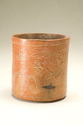Ancient Mayan Decorated Vase Vaso Precolombiano Maya