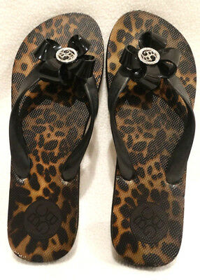 68752c91347fb Pair of BCBG Generation Leopard Print   Black Bow Logo Flip Flops