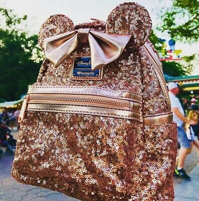 Disney Parks Minnie Mouse Rose Gold Loungefly Backpack NEW WITH TAGS 2nd Edition