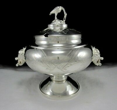 Antique Continental Silver Plate Soup Tureen w/ Elephant Handles Bird Finial