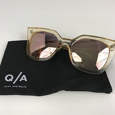 07a375606b NEW QUAY AUSTRALIA Harper Gold Sunglasses yellow pink cat eye ...