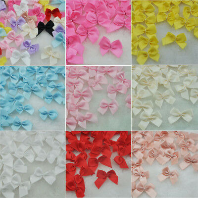 30-100Pcs Mini Satin Ribbon Flowers Bows Gift Craft Wedding Decoration ornament