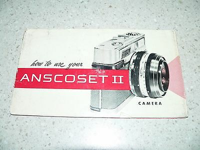 Original Ansco Anscoset II Camera Owner's Manual~Very Good Condition