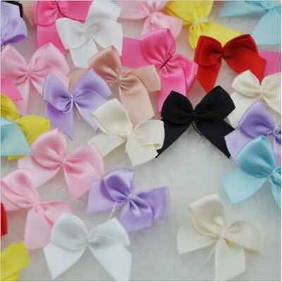 60 pcs Mini Satin Ribbon Flowers Bows Gift DIY Craft Wedding Decoration
